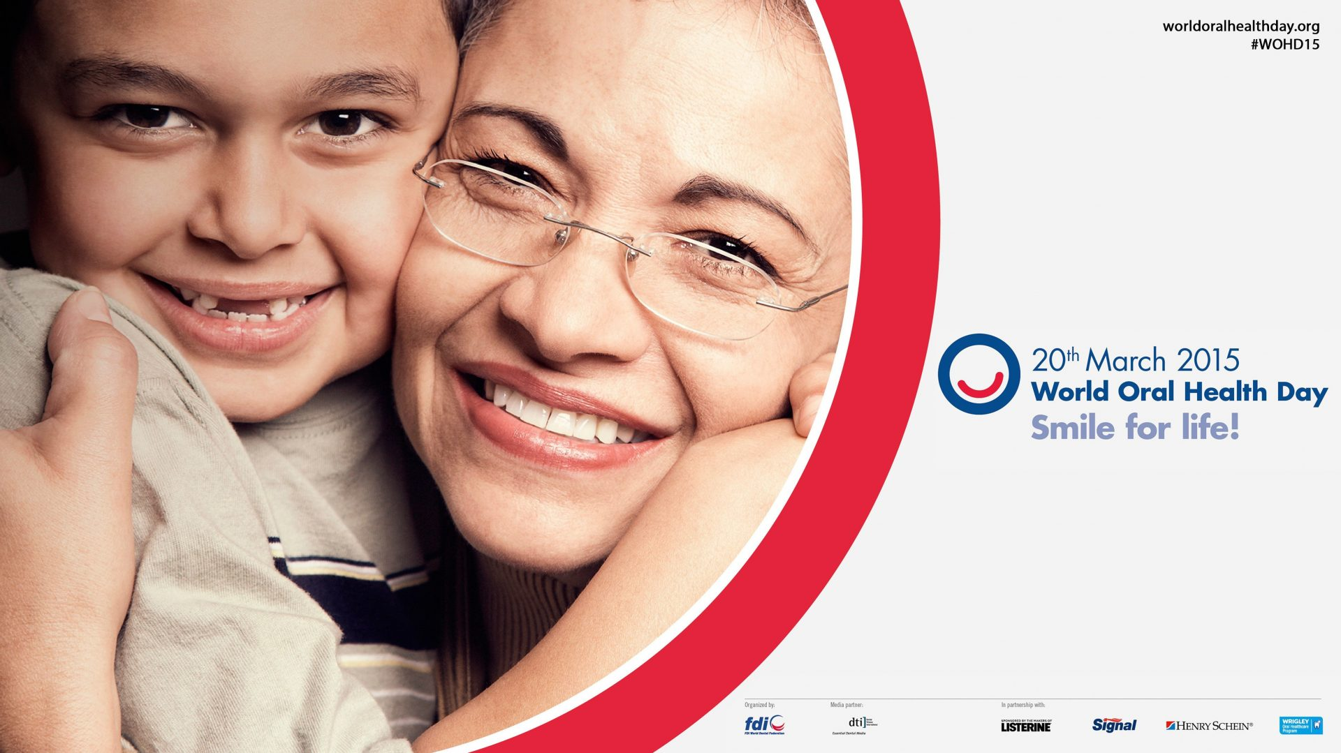 photo of grandmother and grandchild smiling with World Oral Health Day Logo