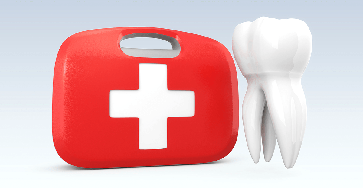 tooth next to medical kit - illustration