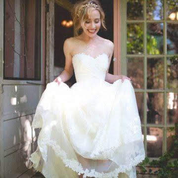 Woman in rustic California wedding dress