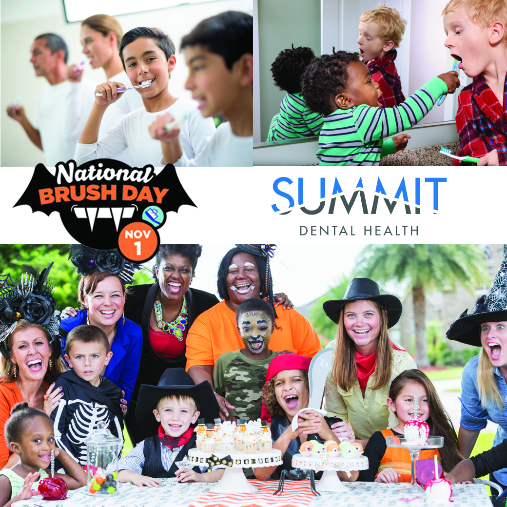 National Brush Day and Summit Dental Health Logos over photos of children celebrating halloween and brushing their teeth