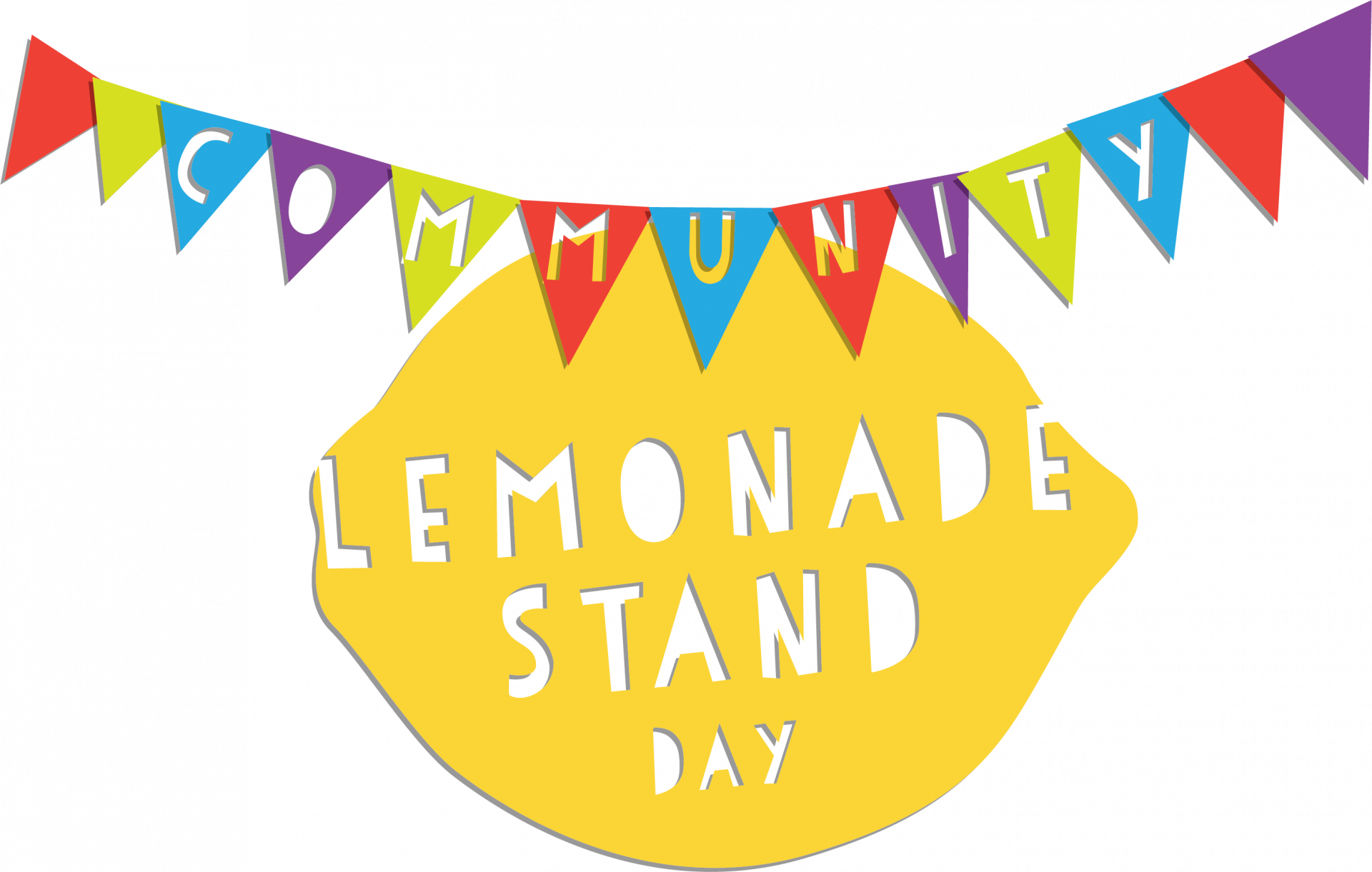 """Graphic of Lemon and Banner that reads """"Community Lemonade Stand Day"""""""