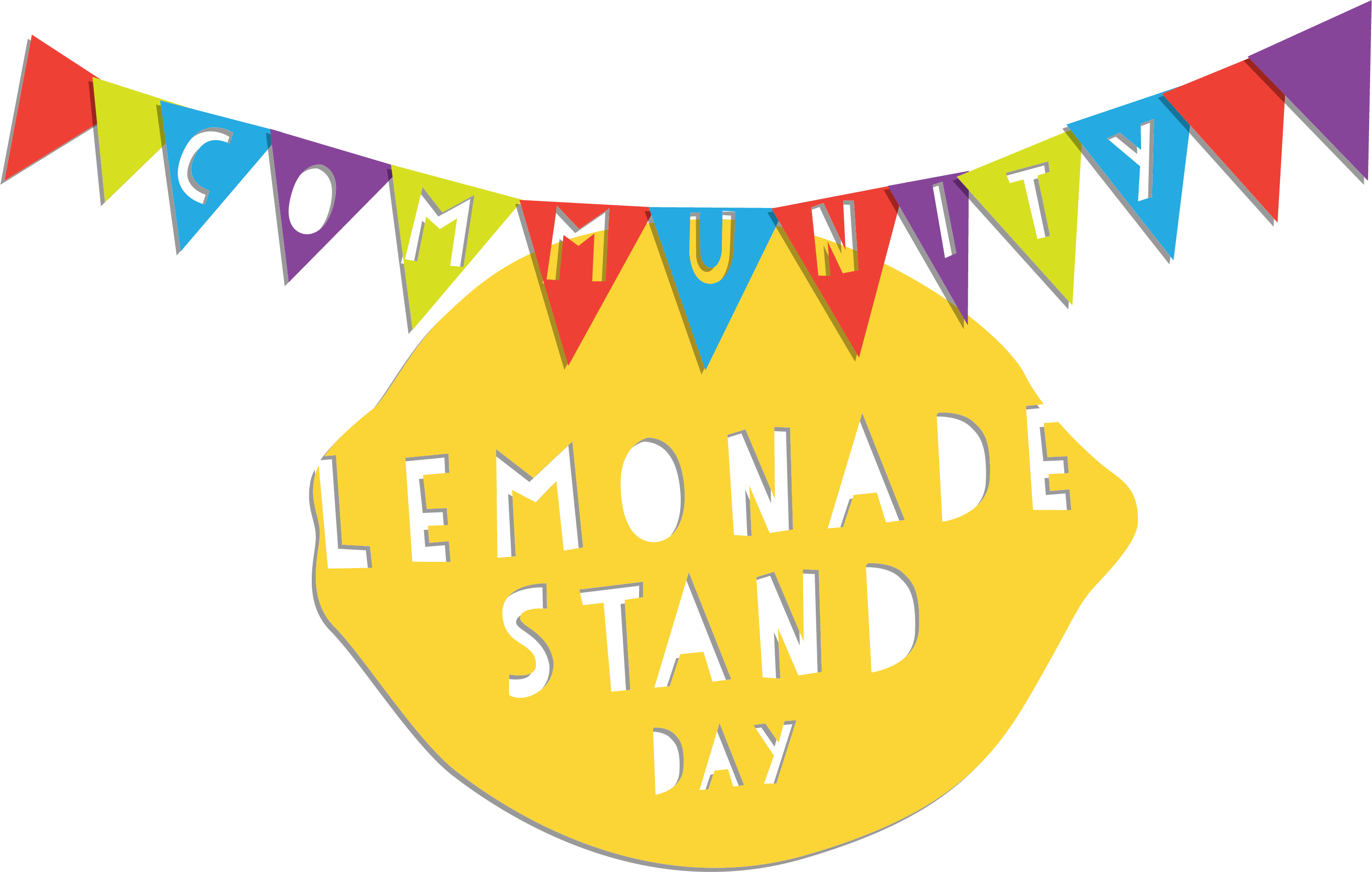 "Graphic of Lemon and Banner that reads ""Community Lemonade Stand Day"""