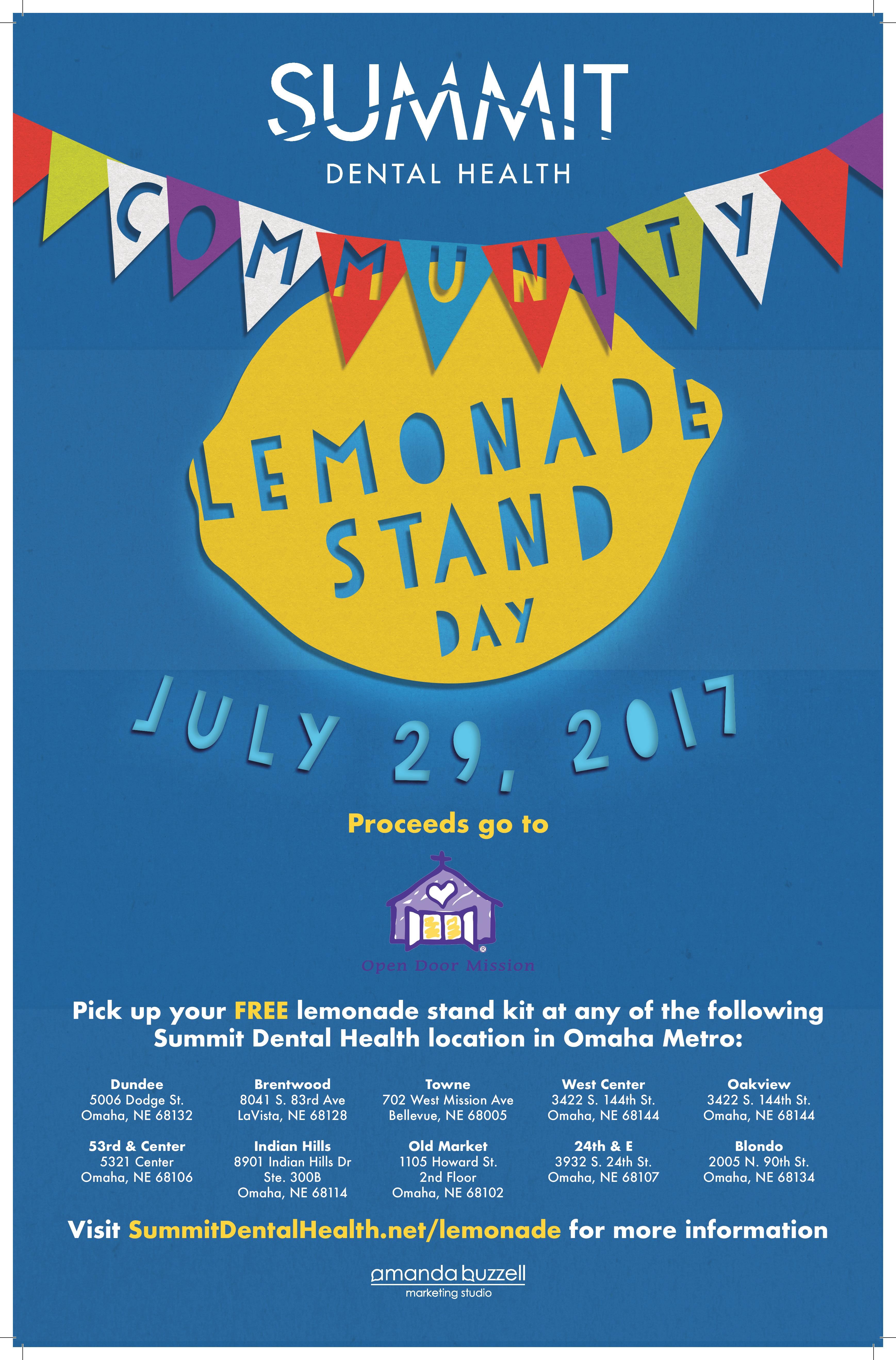 host a lemonade stand for clsd17 summit dental health
