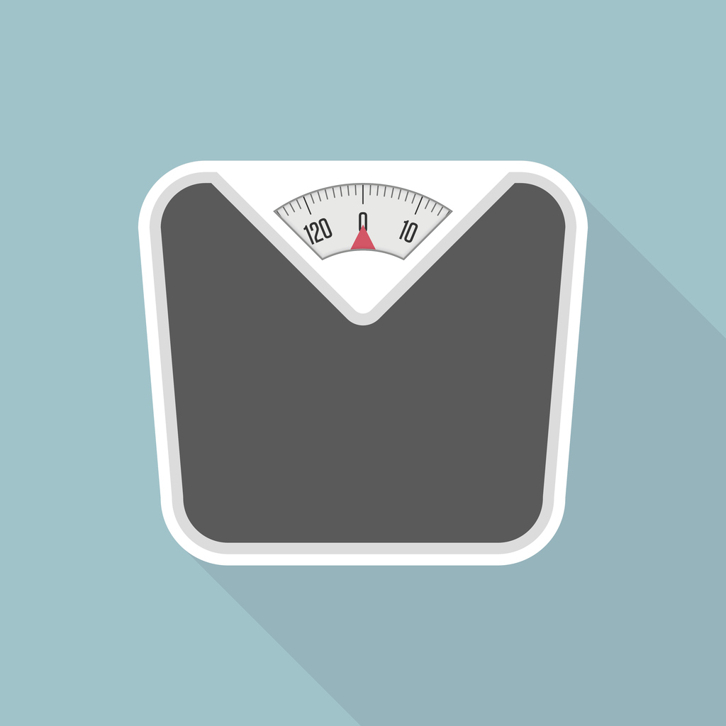 Weight Scale with long shadow. Bathroom scales icon with long shadows. Vector illustration in modern flat style. EPS 10.