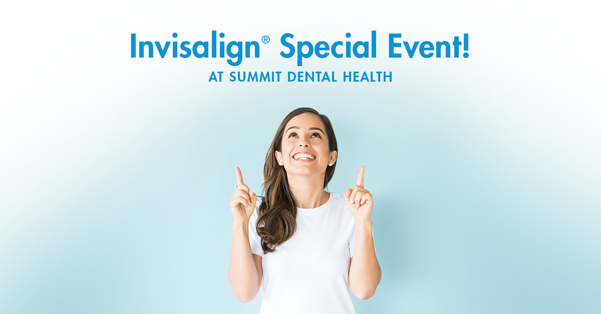 Woman pointing at Invisalign special event sign